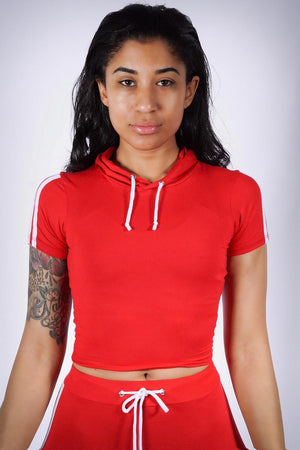 Finish Line leggings/crop-hoodie set, red