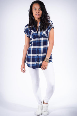 Country Gal flannel tunic, blue/white