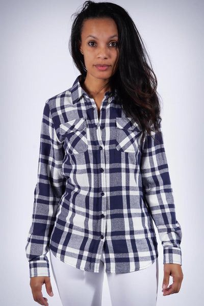 Down South flannel shirt, blue/white