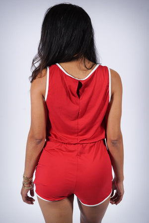 Around The Way romper, red