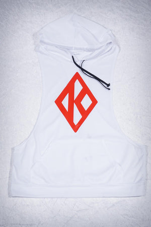 Excuse My Back Diamond-K stringer tank hoodie, white