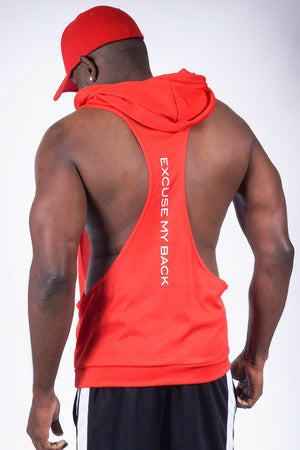 Excuse My Back Nupe stringer tank hoodie, red