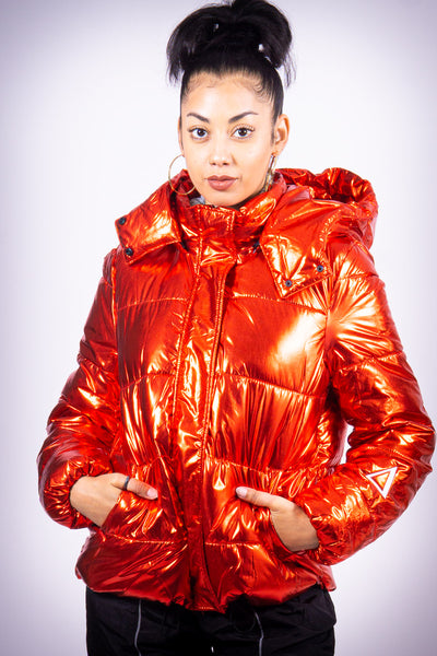 Center of Attention (Δ) puffy coat, metallic red