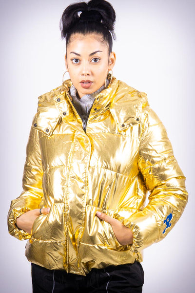 Center of Attention (Poodles Got Heart) puffy coat, metallic gold