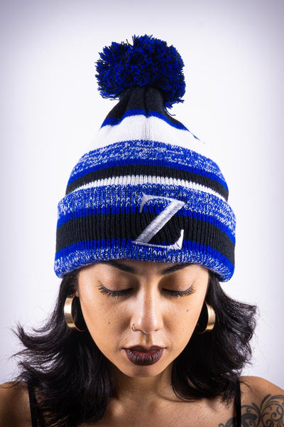 Z for Zeta pom-pom beanie, blue striped