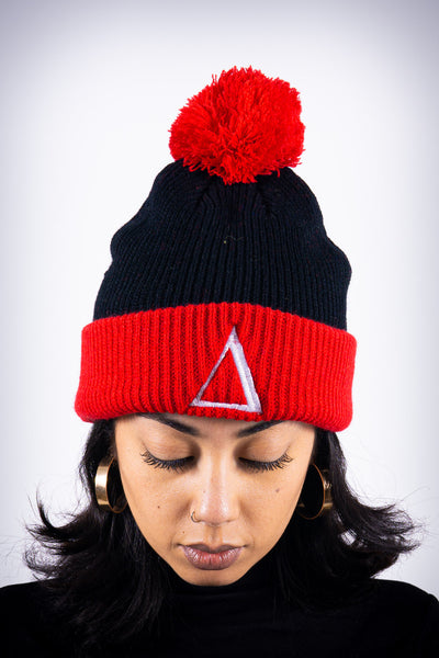 ∆ pom-pom beanie, black/red