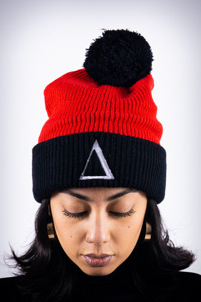 ∆ pom-pom beanie, red/black