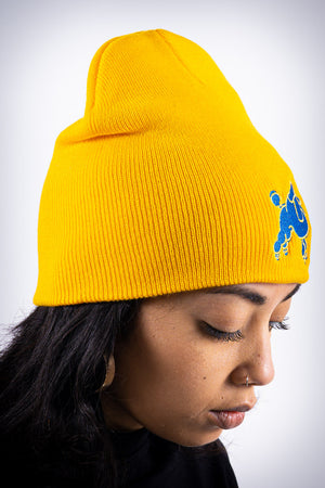 Frenchie Poodle skullie beanie, gold