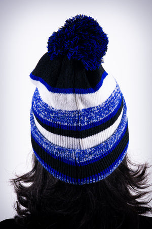 Peace Dove pom-pom beanie, blue striped