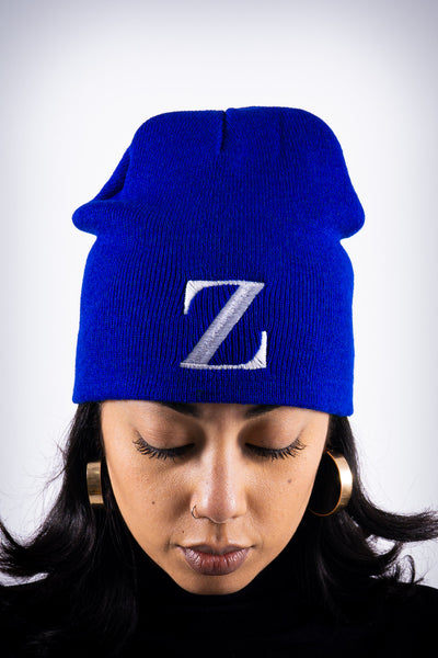 Z for Zeta skullie beanie, blue
