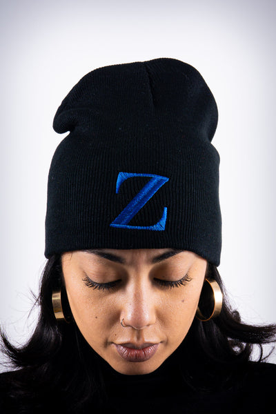 Z for Zeta skullie beanie, black