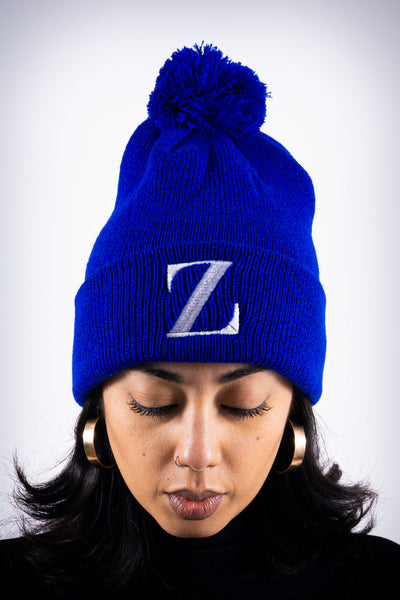 Z for Zeta pom-pom beanie, blue