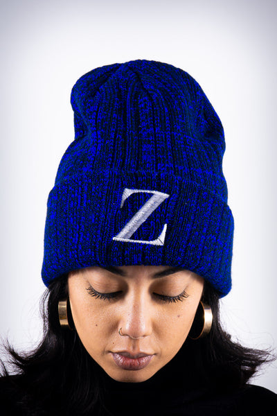 Z for Zeta beanie, blue rock