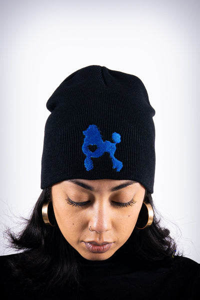 Poodles got Heart skullie beanie, black/blue