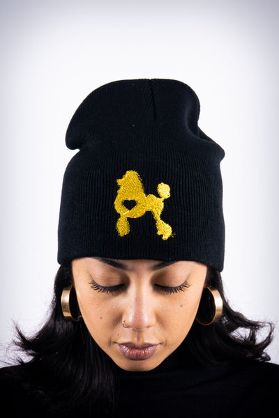 Poodles got Heart skullie beanie, black/gold