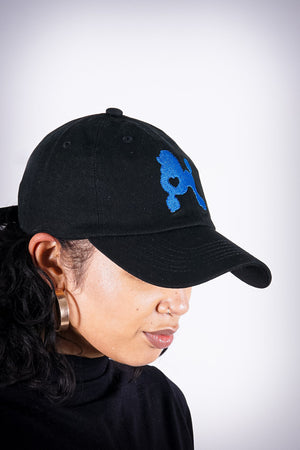 Poodles got Heart polo dad hat, black/blue