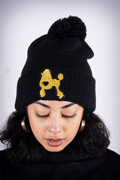 Poodles got Heart pom-pom beanie, black/gold
