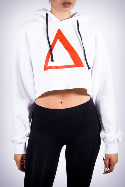 All My Love to Δ cropped hoodie, white