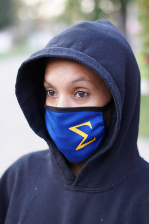Protected! Σ (gold) mouth mask, blue