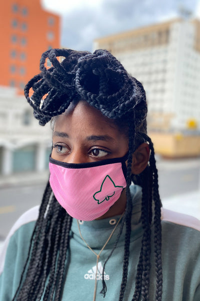 Protected! mouth mask, pink ribbed