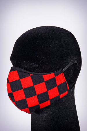 Covered! Checkmate mouth mask, black/red