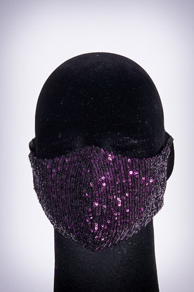 Covered! Sequin mouth mask, purple