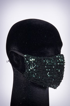 Covered! Sequin mouth mask, green