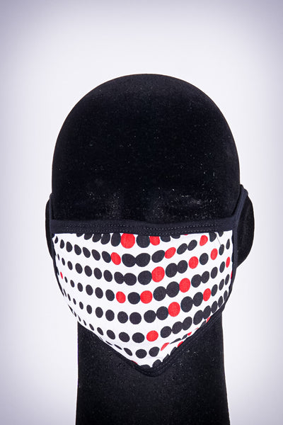 Covered! Dotted mouth mask, white