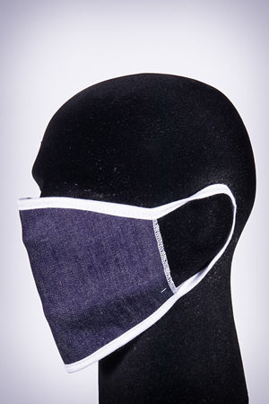 Covered! Solid mouth mask, dark denim blue/white