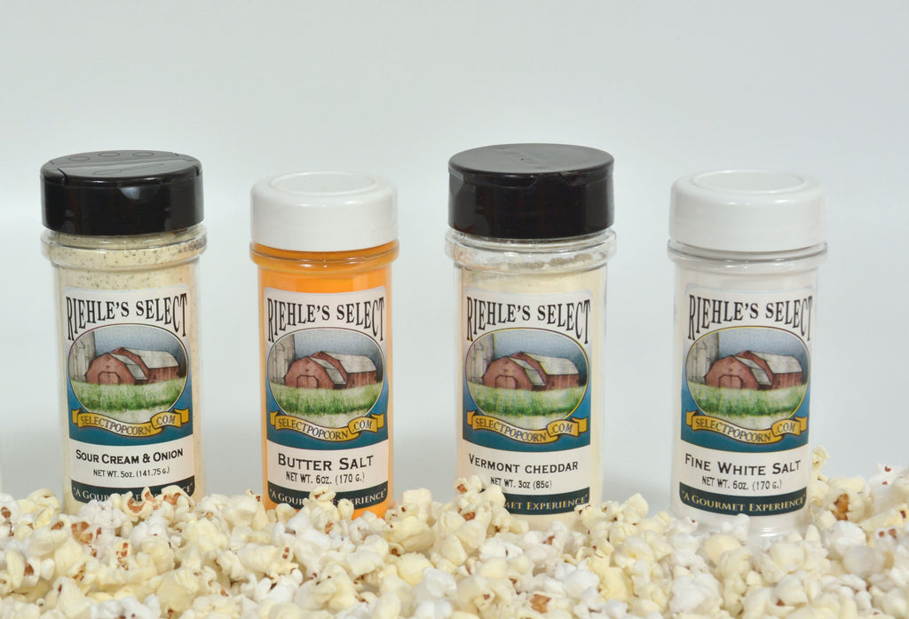 Popcorn Butter Salt (6oz), Popcorn Salt (6oz), Vermont White Cheddar (3oz), Sour Cream & Onion (5oz) (no gift box included)