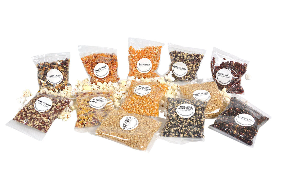 The Mini Sampler is 2-4oz bags of Unpopped Popcorn: Baby White, Baby Yellow, Baby Blue, Autumn Blaze, Ruby Red, Shaman Blue, Pearl White, Goldenrod, Pink Blossom, Rainbow Delight, Sunburst and Midnight Red