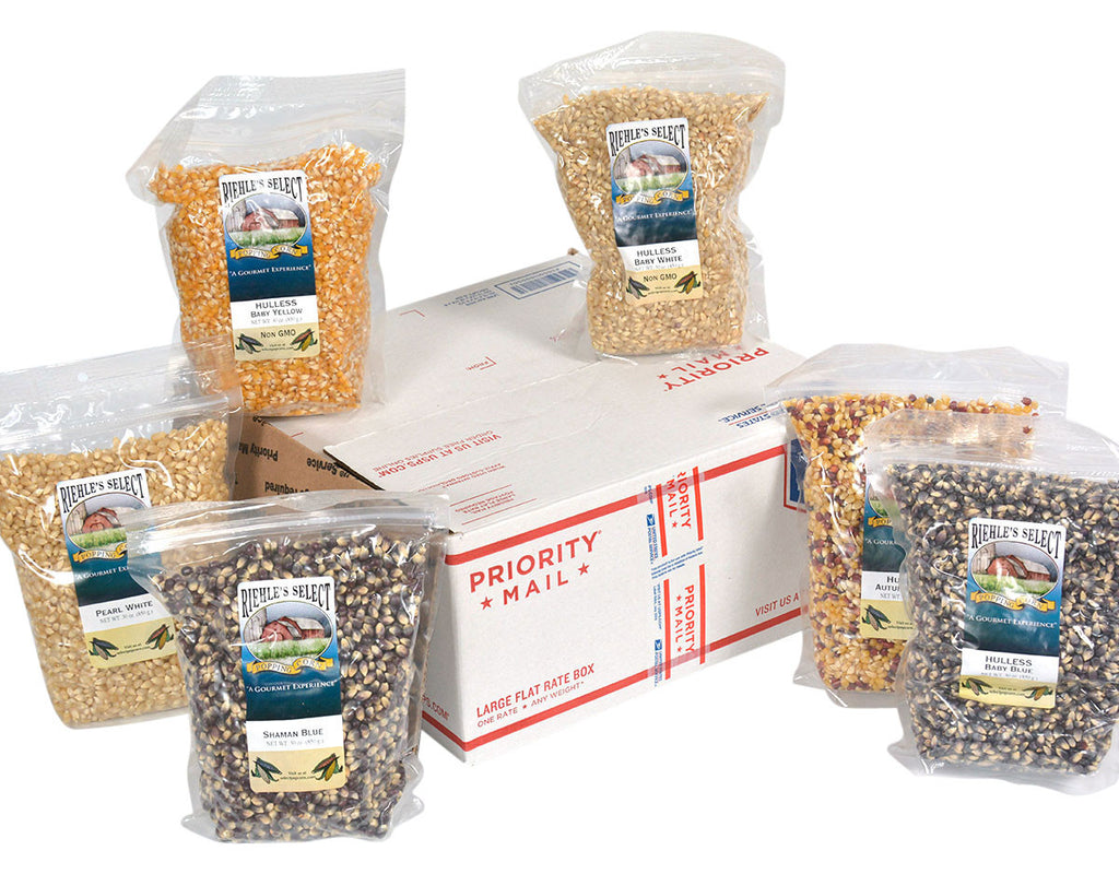 Pick which variety you wanted shipped to you from the drop down box below!  Each bag has a drop down box, with a total of 6 bags of popcorn.   The customized price is the final price with shipping (base price) included.  Only six bags will fit in this size box.  No additions, subtractions or replacements can be made.