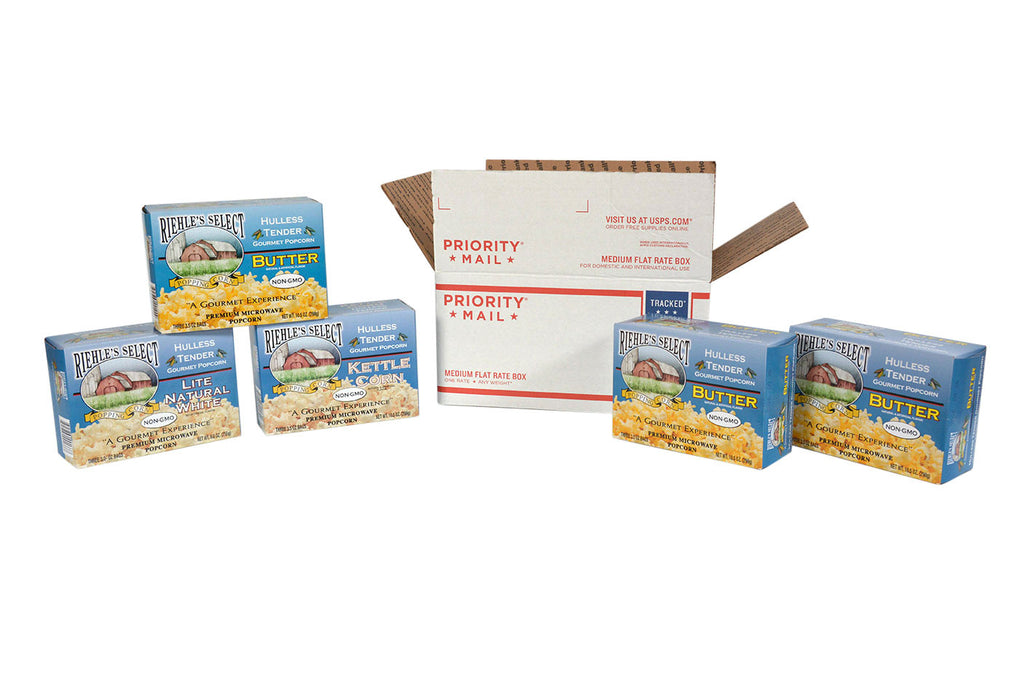 Shipping for a Selection of 5 boxes of microwave popcorn for your personal order!  You may mix and match within the 5 boxes or pick all the same.