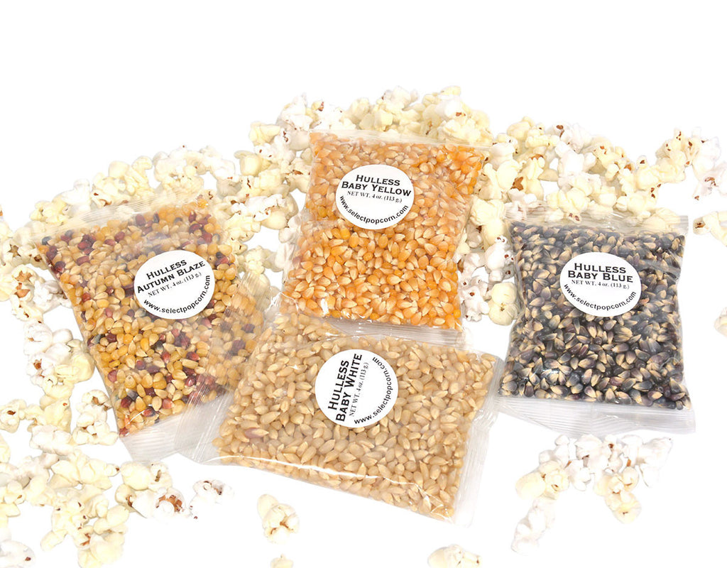 popping corn sampler of 4 oz bags of unpopped popcorn