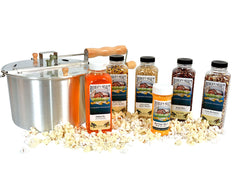 Popcorn Popper Gift Set with 4 bottles of unpopped Popcorn, a Popcorn Popper and a Popcorn Butter Salt and Canola Oil with Butter Flavor