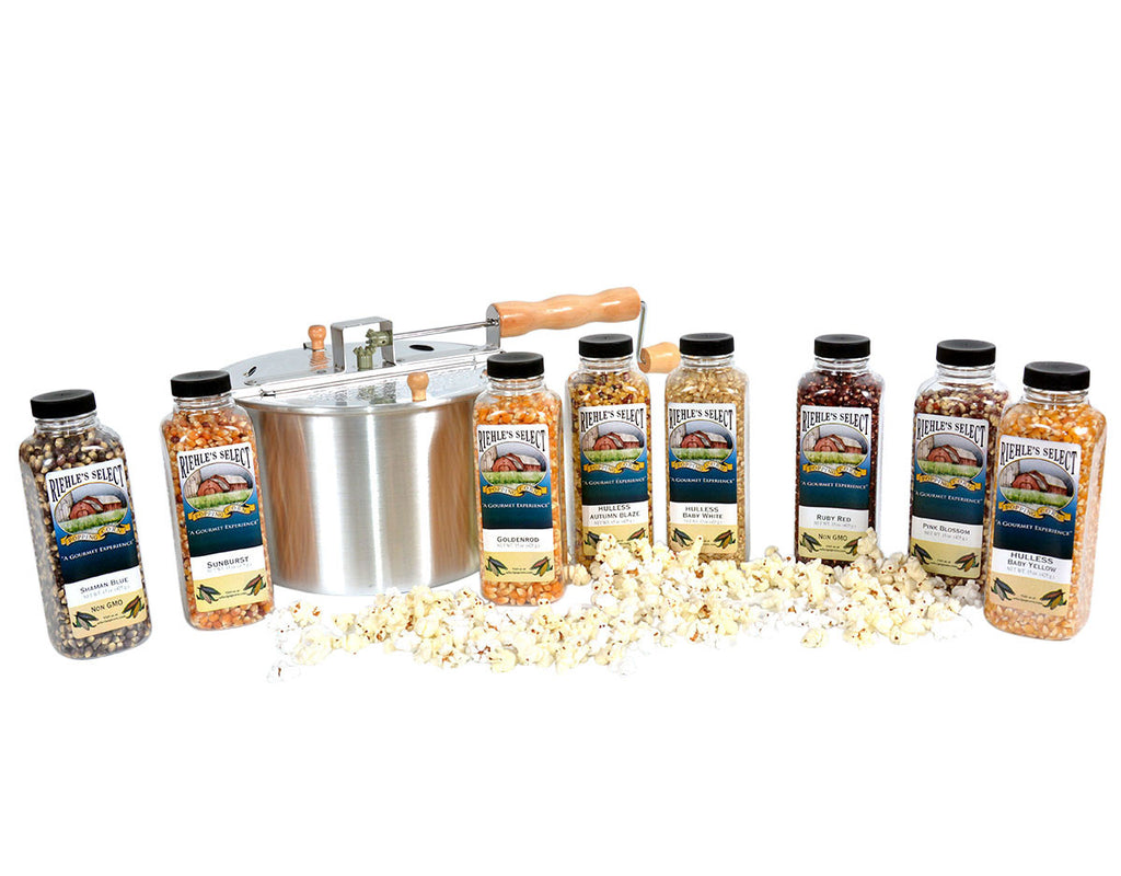 Includes Aluminum Whirley Popper and 15 oz jars of Autumn Blaze Popcorn, Baby White Popcorn,Ruby Red Popcorn, Pink Blossom Popcorn, Goldenrod Popcorn, Shaman Blue Popcorn, Baby Yellow Popcorn, and Sunburst Popcorn