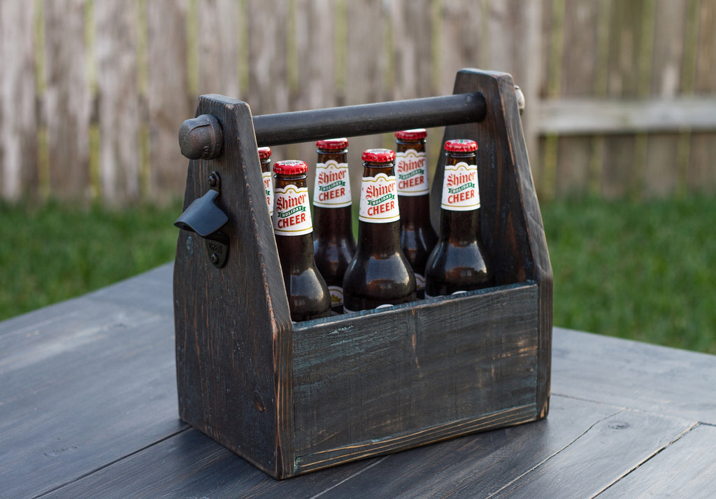 Beverage Caddy - Rustic Wood, Custom Finish - Sartain's Awesome Shoppe