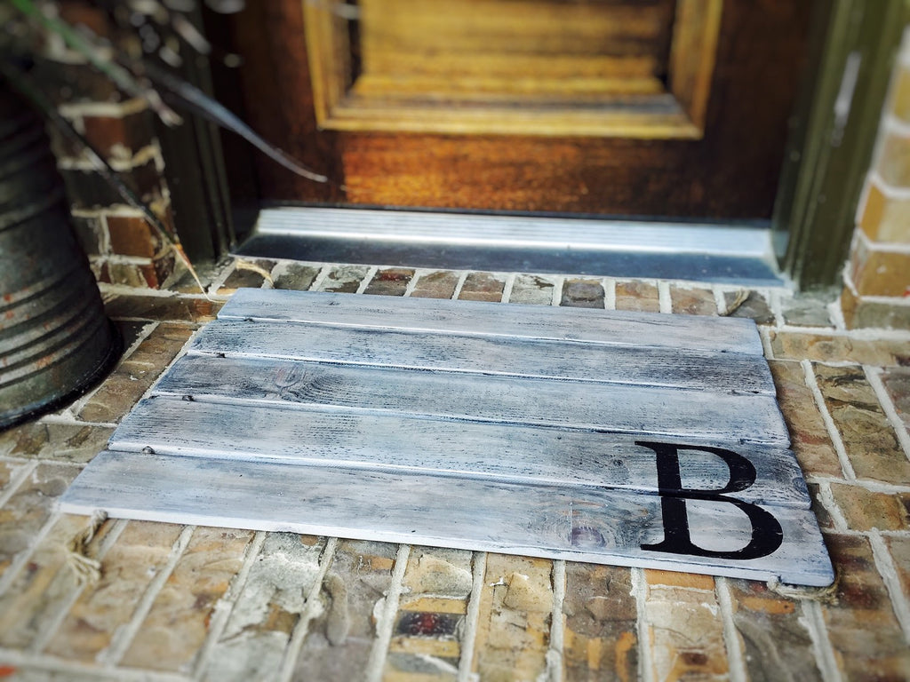 Doormat, Wood, Monogram, Custom Distressed Finishes: ANTIQUED LIGHT GREY shown - Sartain's Awesome Shoppe