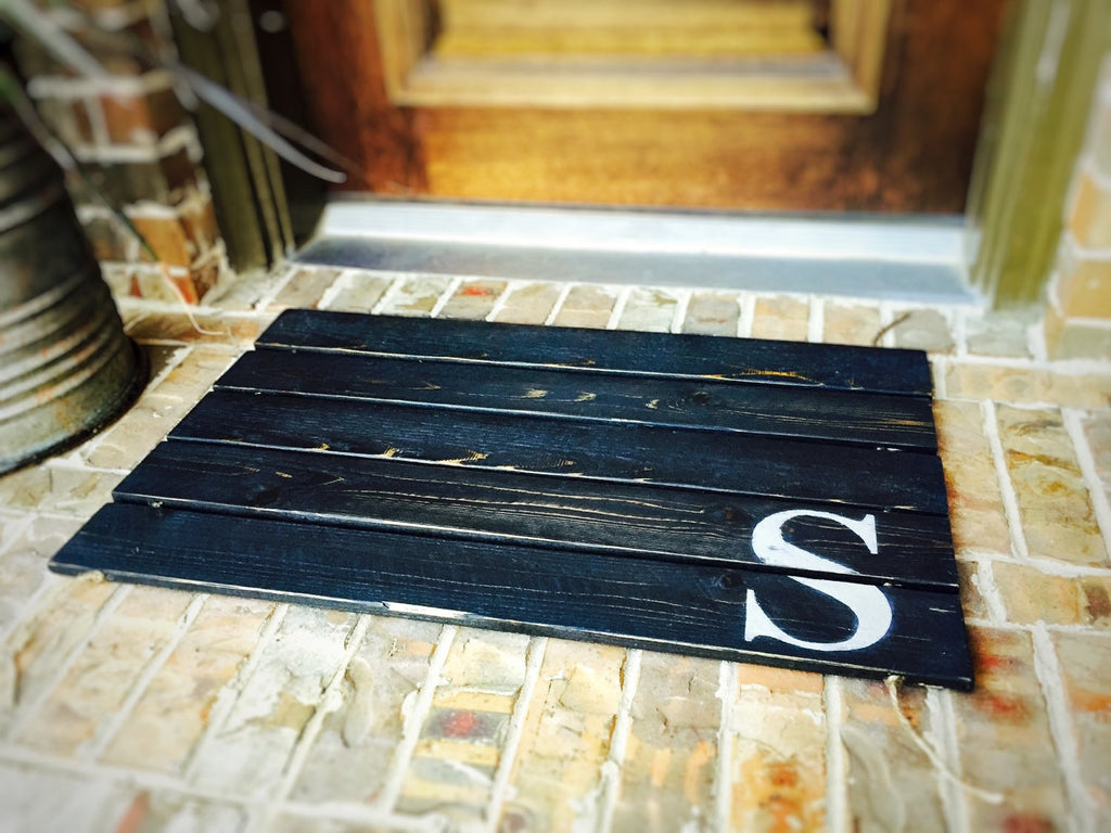 Wood Doormat, Monogram, Custom Distressed Finishes: EBONY FINISH shown - Free Shipping
