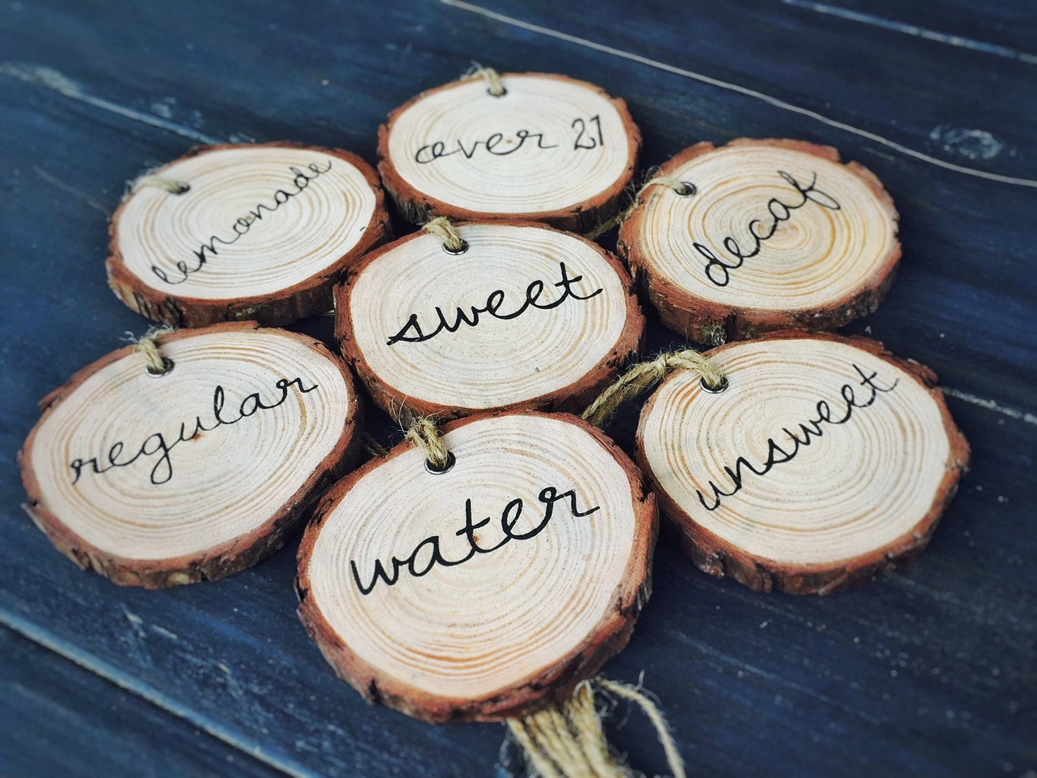 Wood Slice Party Decor - Beverage Tags