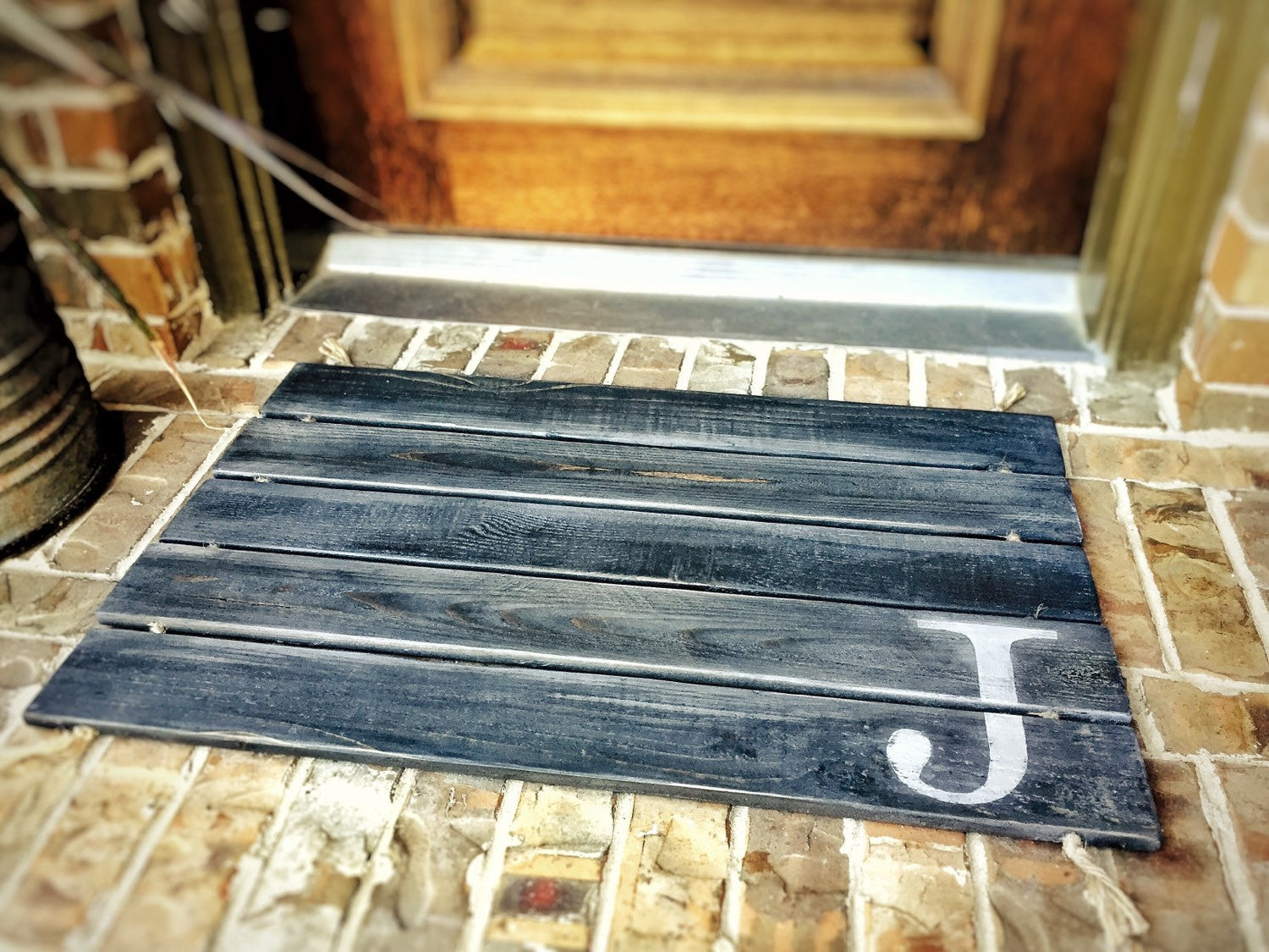 Wood Doormat, Monogram, Custom Distressed Finishes: 2-TONE DARK GREY shown - Free Shipping - Sartain's Awesome Shoppe