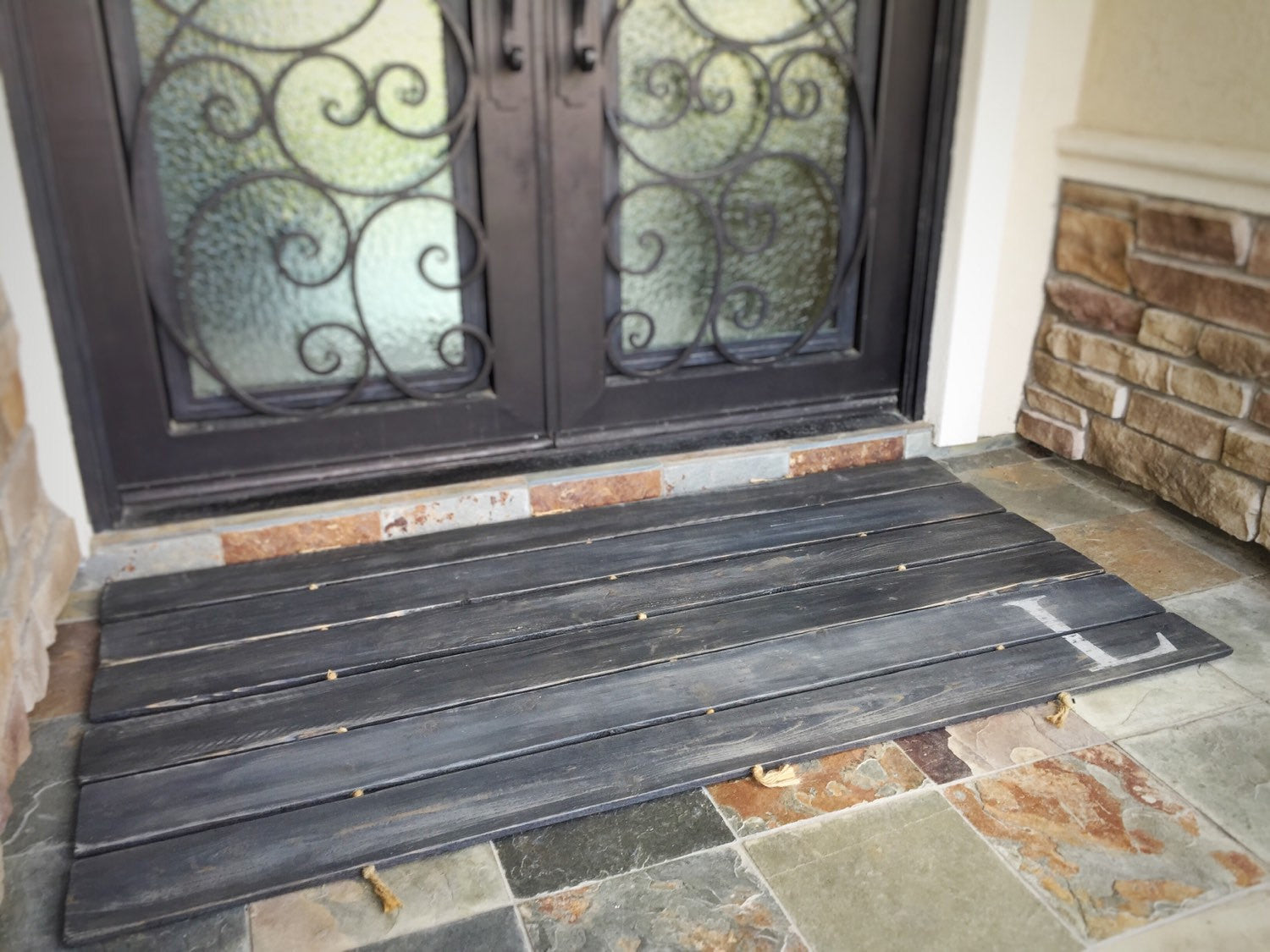 Wood Doormat - Double Door - Monogram, Custom Distressed: 2-TONE DARK GREY shown - Sartain's Awesome Shoppe
