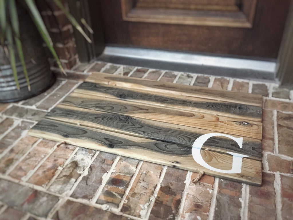 Doormat, Wood, Monogram, Custom Distressed Finishes: AGED NATURAL SHOWN - Sartain's Awesome Shoppe