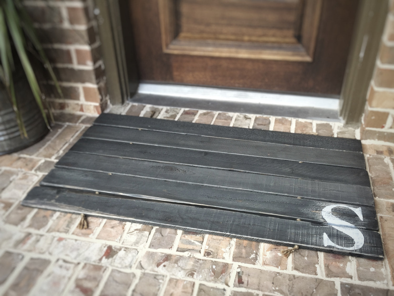 Doormat, Wood,  Oversized - Monogram, Custom Distressed Finishes: 2-TONE DARK GREY shown - Sartain's Awesome Shoppe