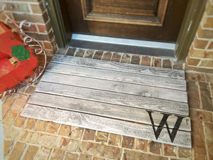 Doormat, Wood,  Oversized - Monogram, Custom Distressed Finishes: Antiqued Light Grey shown - Sartain's Awesome Shoppe