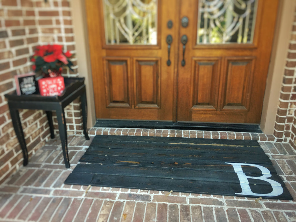 Doormat for Double Door - Monogram, Custom: DISTRESSED BLACK FINISH shown - Sartain's Awesome Shoppe