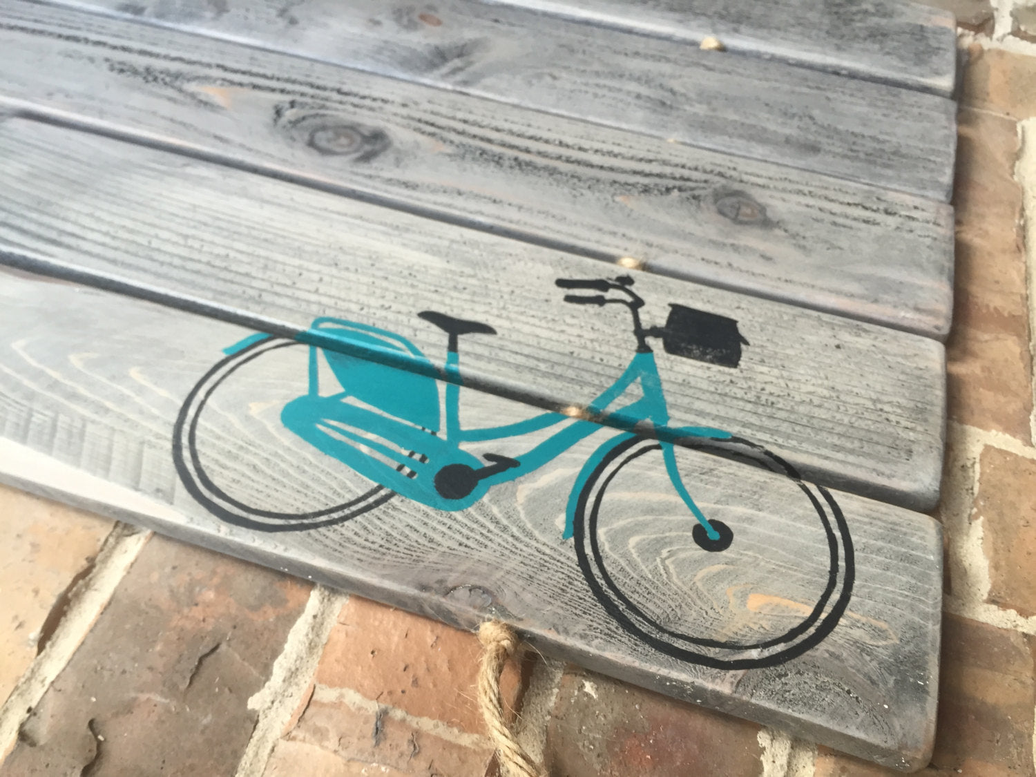 Basket Bicycle Doormat, Wood, Monogram, Custom Design: ANTIQUED LIGHT GREY shown - Sartain's Awesome Shoppe
