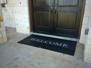 Welcome Doormat for Double Door - DISTRESSED BLACK FINISH shown - Sartain's Awesome Shoppe