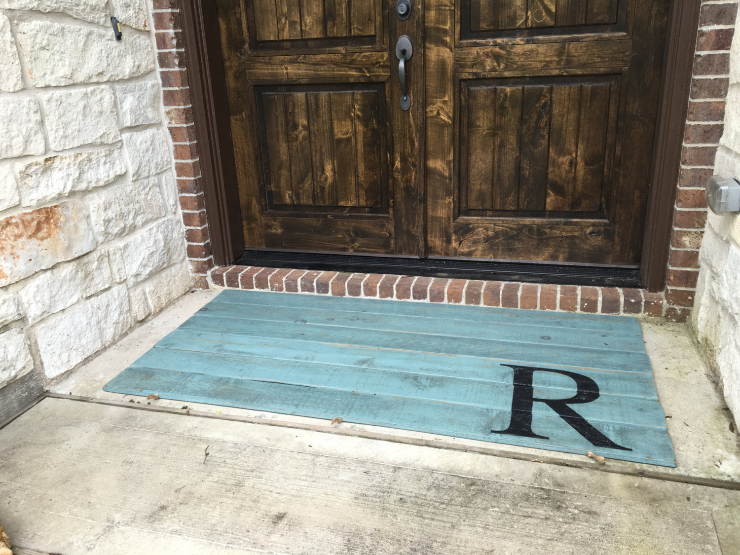 Wood Doormat - Double Door - Monogram, Antiqued Turquoise - Sartain's Awesome Shoppe