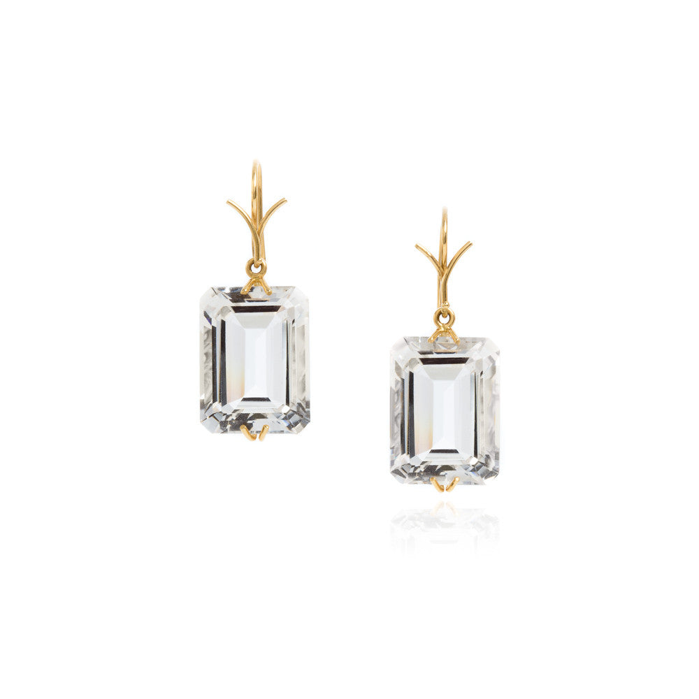 Rock crystal emerald cut earrings in 18k yellow gold vine